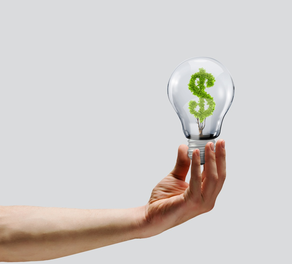 Human hand holding bulb with money tree inside. Wealth concept-1