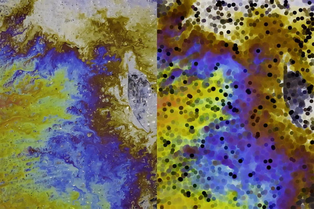 Two versions of the same motor oil spill on asphalt parking lot photograph (left) and illustration (right), for abstract or background with themes of pollution, ecology and the environment.jpeg